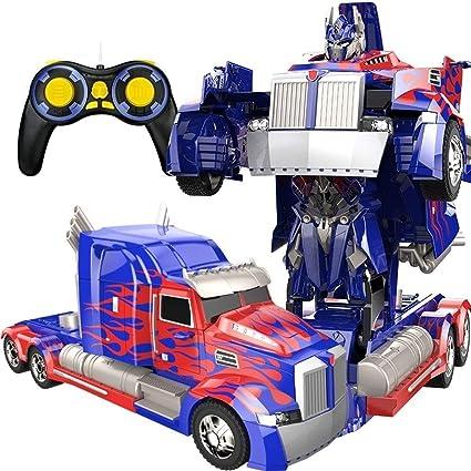 Ycco Uno y doce dibujos animados Deformación rc camiones de juguete con un solo botón deformado 2,4 GHz de control remoto de coches de alta velocidad de deriva Transformación Robot truco RC