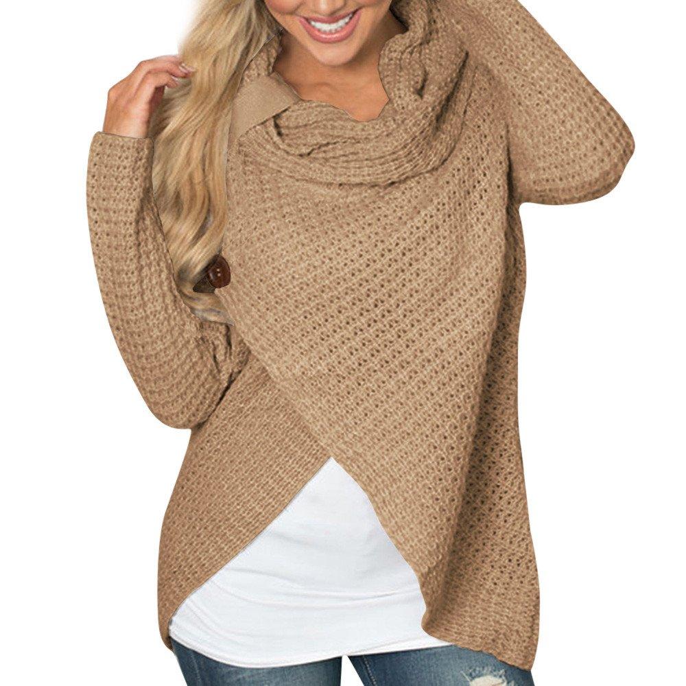 VEMOW Damen Rollkragenpullover Solid Sweater Warm Cable Gestrickte Lose Knopf Wrap Asymmetrische Langarm Sweatshirt Pullover Tops Bluse Shirt VEMOW Women
