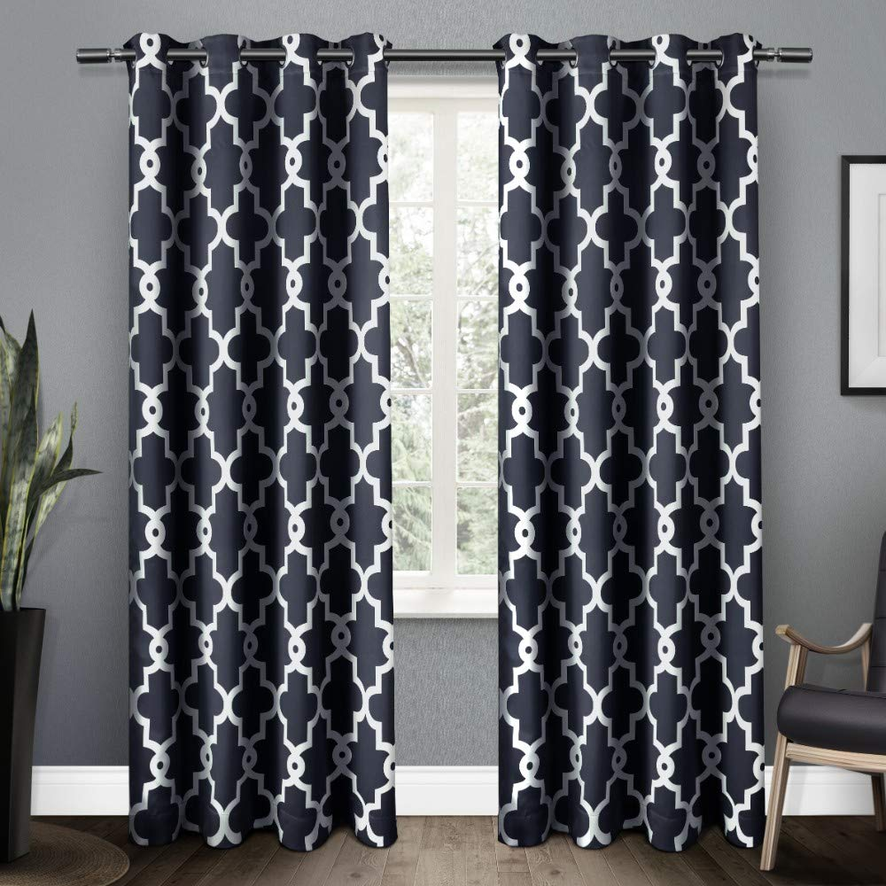 Exclusive Home Curtains Ironwork Sateen Woven Blackout Window Curtain Panel Pair with Grommet Top, 52x84, Peacoat Blue, 2 Piece