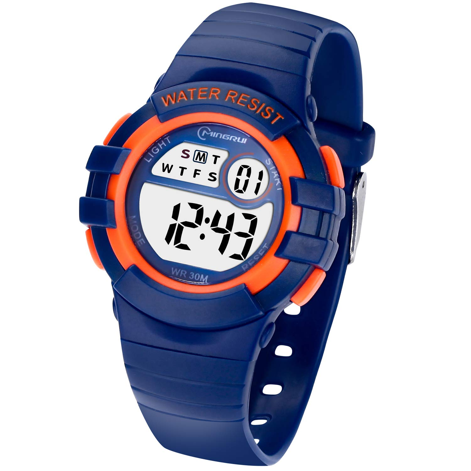 Kids Digital Watches for Girls Boys,Outdoor Sports Waterproof Multi Function Wristwatch with Alarm/Timer/LED Light/Dual Time Zone/Soft Rubber Strap for Children Gift Box (Blue+Orange) by PINGHE