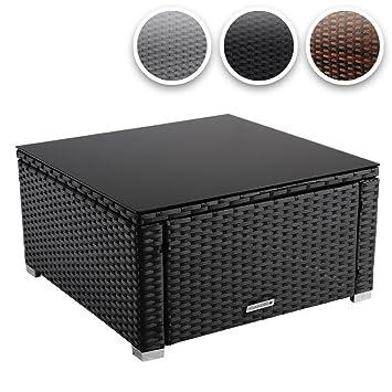 Miadomodo Poly Rattan Coffee Table With Black Top Glass 59x59 Cm Garden Patio Furniture Black