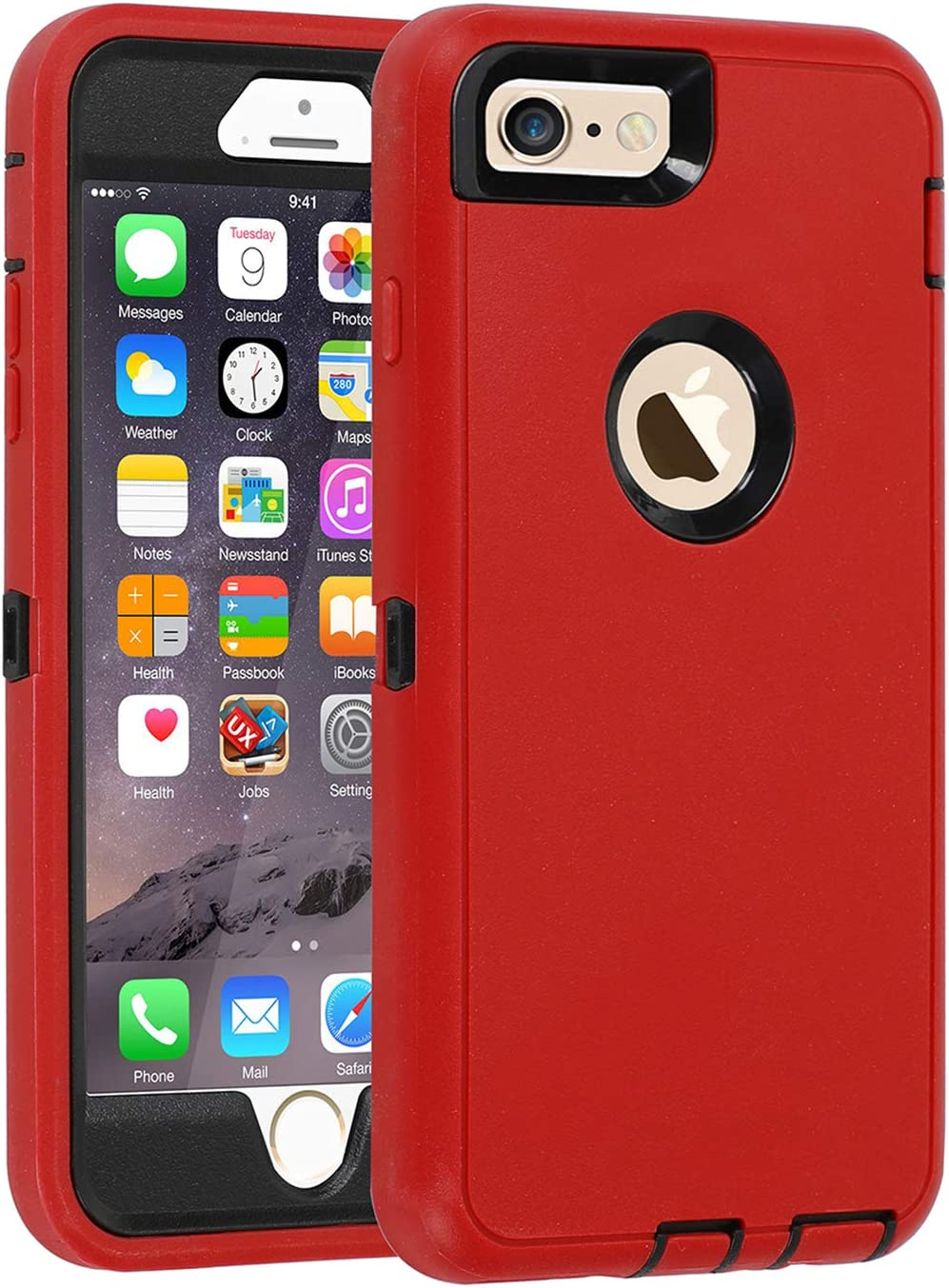 Co-Goldguard Case for iPhone 6/6s,Heavy Duty 3 in 1 Built-in Screen Protector Durable Cover Dust-Proof Shockproof Drop-Proof Scratch-Resistant Shell for Apple iPhone 6/6s 4.7 inch,Red&Black