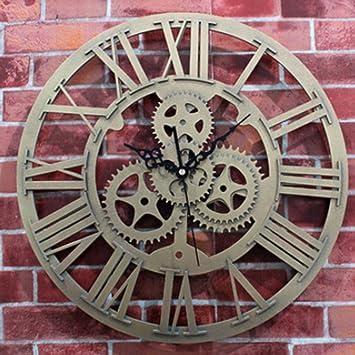 Foxom Horloge Murale Ronde Rétro Vintage 3D Décoration Engrenage Chiffres  Romains Acrylic Pendules murales, Doré a44b68ee73b5