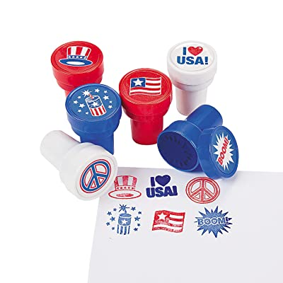 Fun Express - Patriotic Stampers for Fourth of July - Stationery - Stamps - Stamps - Self Inking - Fourth of July - 24 Pieces: Toys & Games