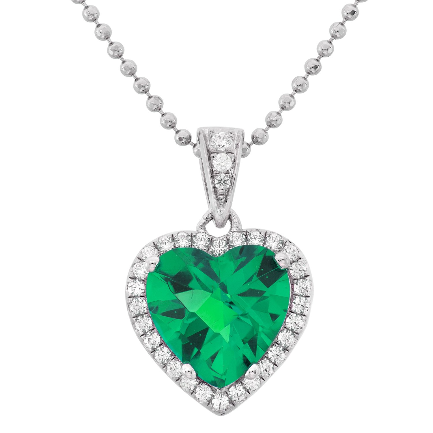 Platinum Plated Sterling Silver Heart Cut Green Obsidian Pave CZ Pendant Necklace