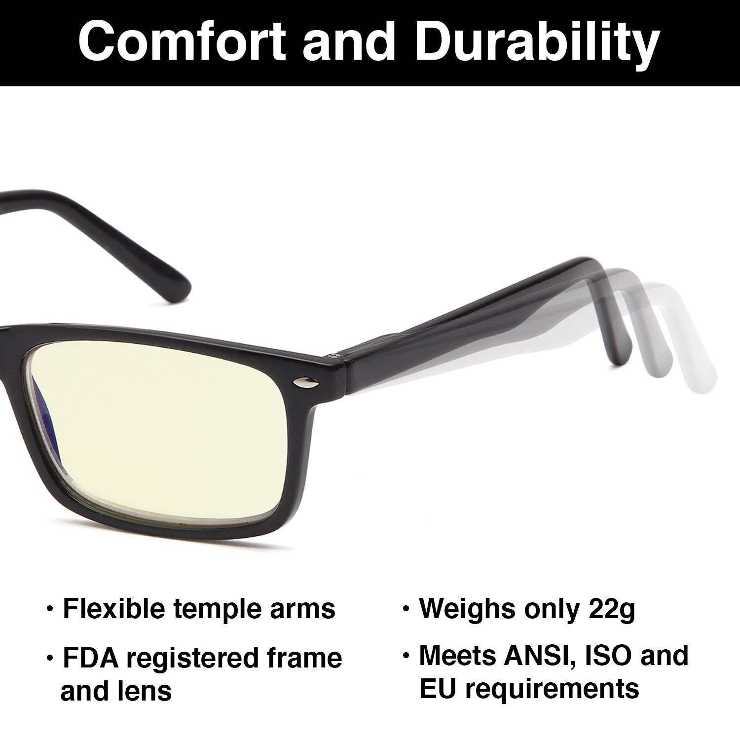 Gamma RAY 899 Computer Readers UV Protection, Anti Glare, Anti Blue Light Eyeglasses, Spring Hinge Video Gaming Frames - with 0.00x Magnification by Gamma Ray Optics (Image #6)