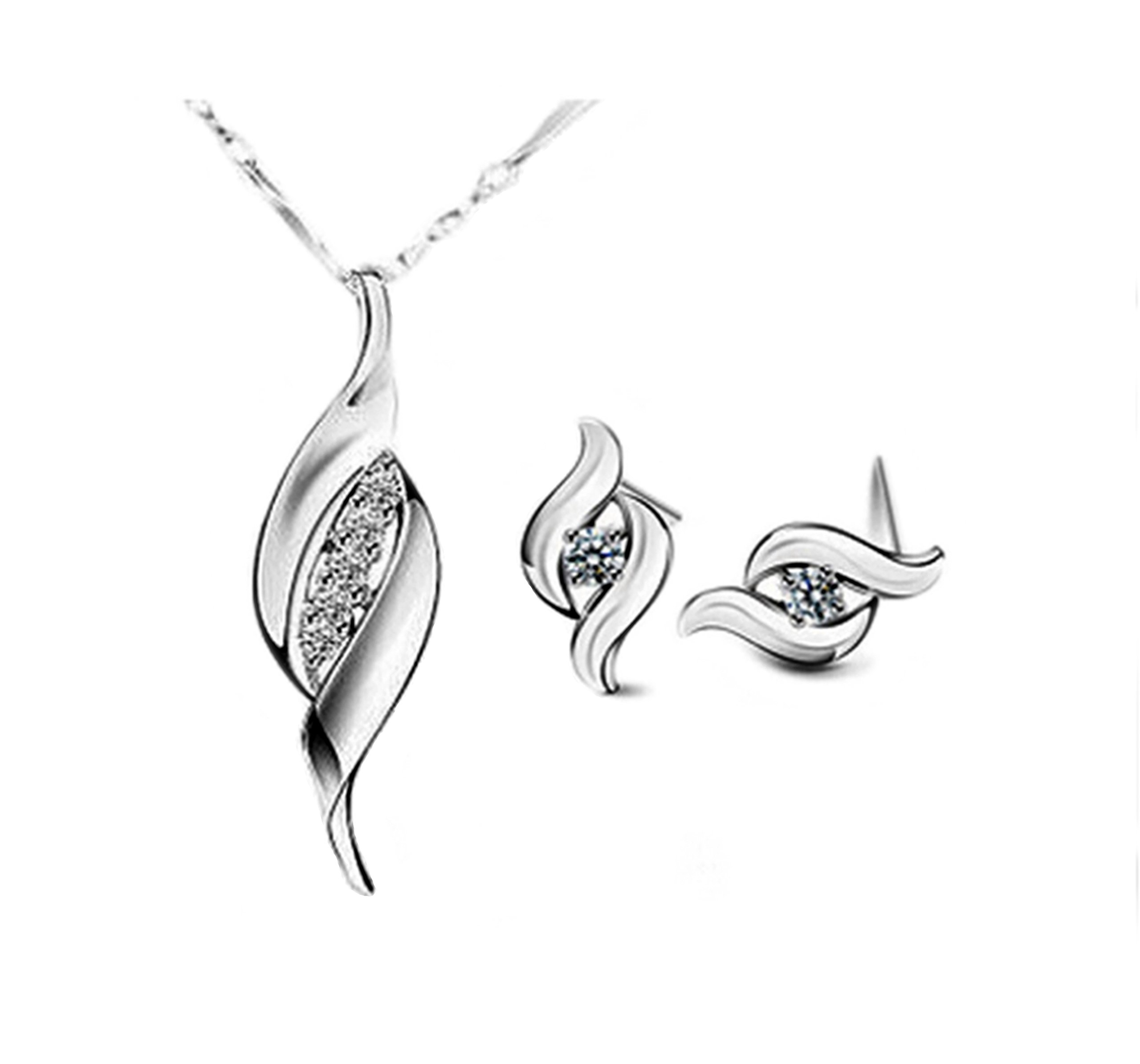 Bridal Jewelry 5.2 Ct Simulated White Topaz Sapphire Diamond Sterling Silver Earrings Pendant Necklace Set -Great Christmas Birthday Anniversary Mothers Day Wedding Gift for Her Women Girls Teens