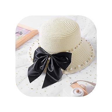 43f5b7c968bf2 Bow Straw Hats Summer Baby Mom Parent-Child Hat Women Girls Solid ...