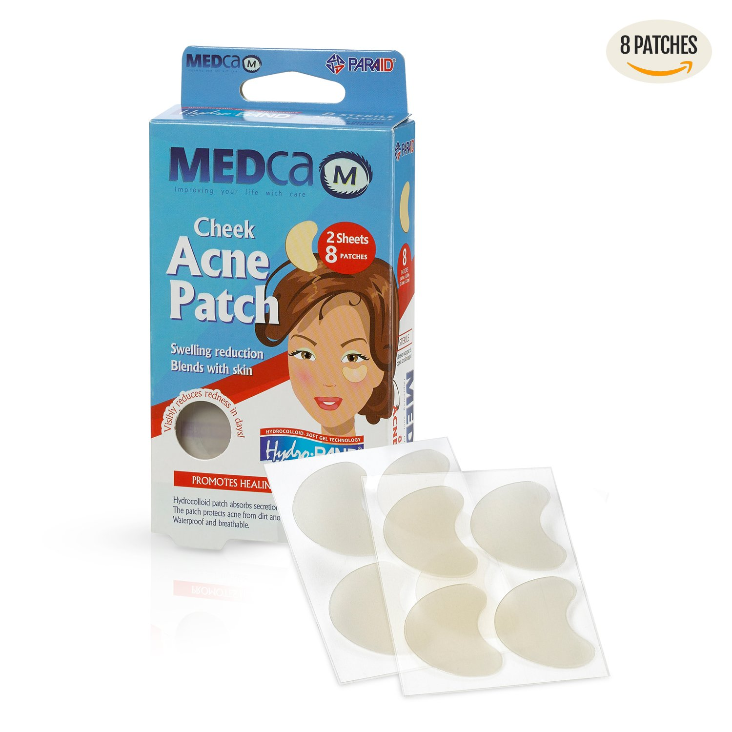 Acne Care Pimple Patch Absorbing Cover - Cheek Size Acne Spot Treatment Hydrocolloid Bandage Face & Skin Spot Patch Conceals Acne, Reduces Pimples and Blackheads MEDca