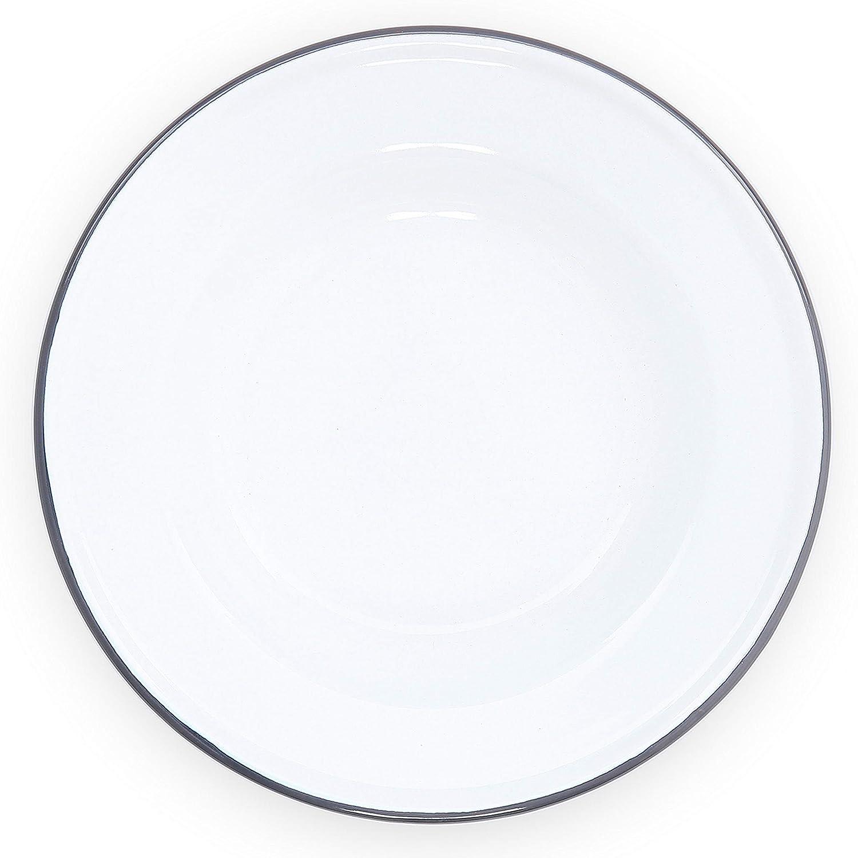 Enamelware Raised Salad Plate, 8 inch, Vintage White/Grey (Single)