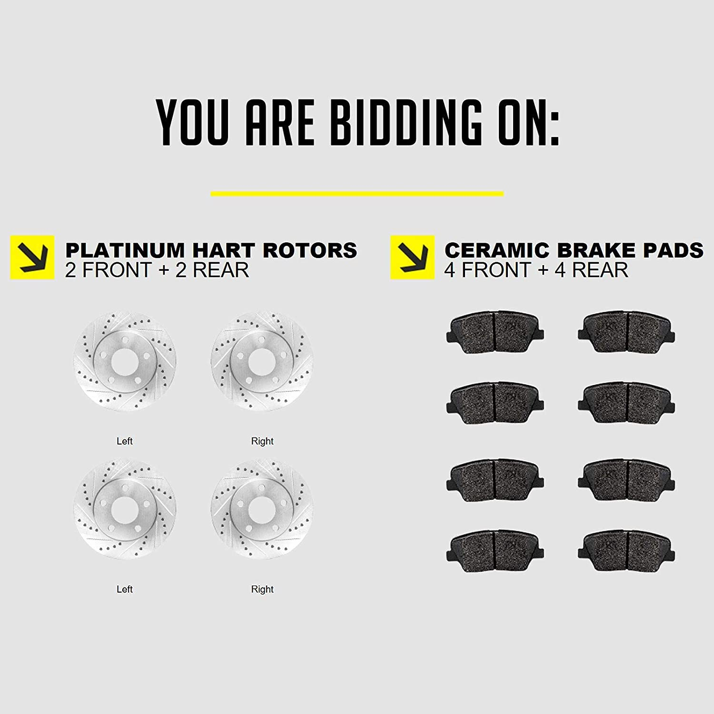 Honda TSX Fits Acura Accord Front Rear Drill Slot Brake Rotors Kit+Ceramic Pads