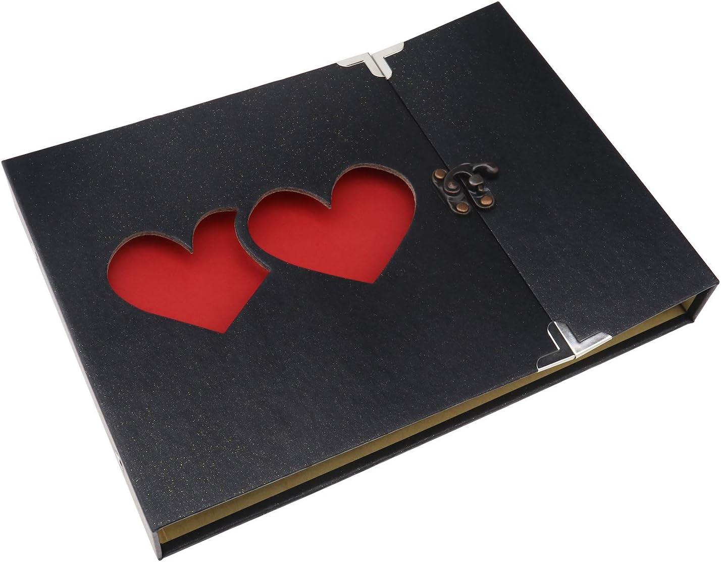 SING F LTD Black Double-Heart Handmade DIY Family Album with Bonus Gift Box for Christmas Valentine's Day Birthday