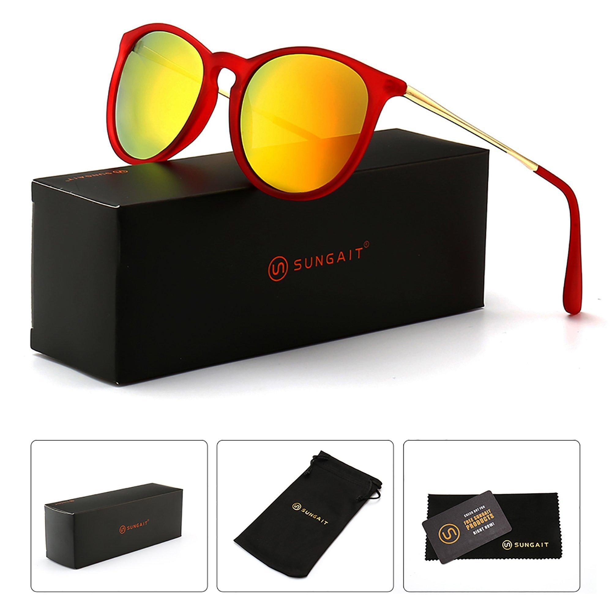 SUNGAIT Vintage Round Sunglasses for Women Classic Retro Designer Style (Red Frame/Tangerine Lens) 1567 HOKJH