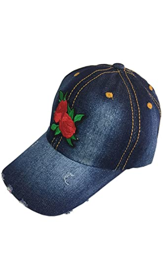 fa964a78f0f PASKMLNA Denim Stone Washed Cotton Adjustable Baseball Cap with Flower  (9031-1 Dark Jean