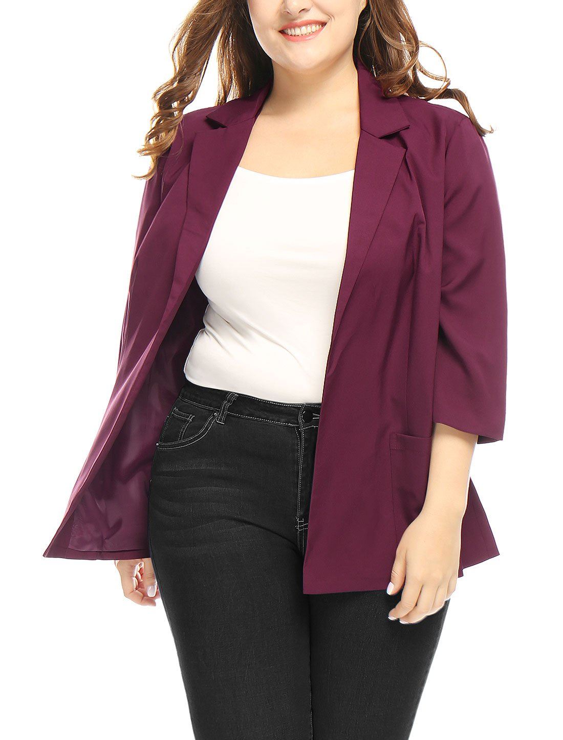Agnes Orinda Women's Plus Size Open Front 3/4 Sleeves Collared Blazer 1X Red
