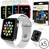 Orzly® - 5-in-1 FunColor Face Plates for APPLE WATCH (38 MM) - Multi Pack of 5 Interchangeable Silicon Gel Covers in ASSORED COLOURS (EachSkin included in this pack is of a Different Colour and Custom Designed to fit every 38mm model Watch)