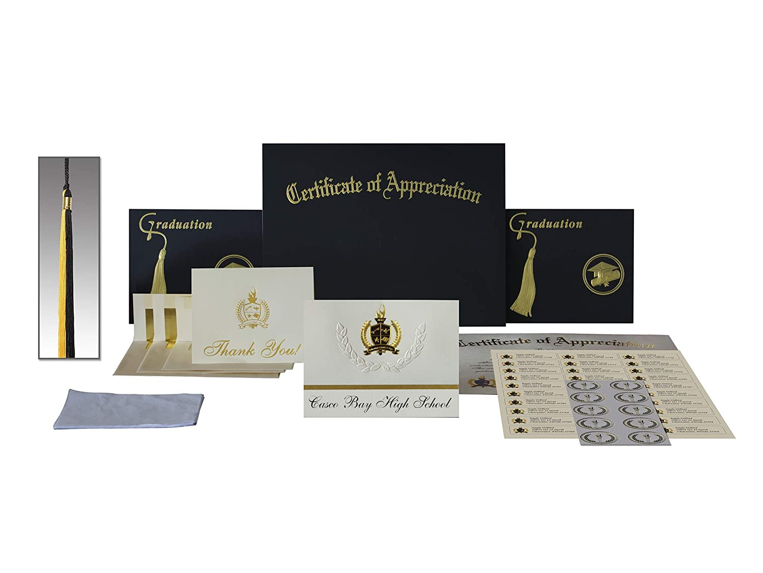 Amazon.com : Signature Announcements Casco Bay High School (Portland, ME) Graduation Announcements, Presidential style, Elite package of 25 with Gold ...