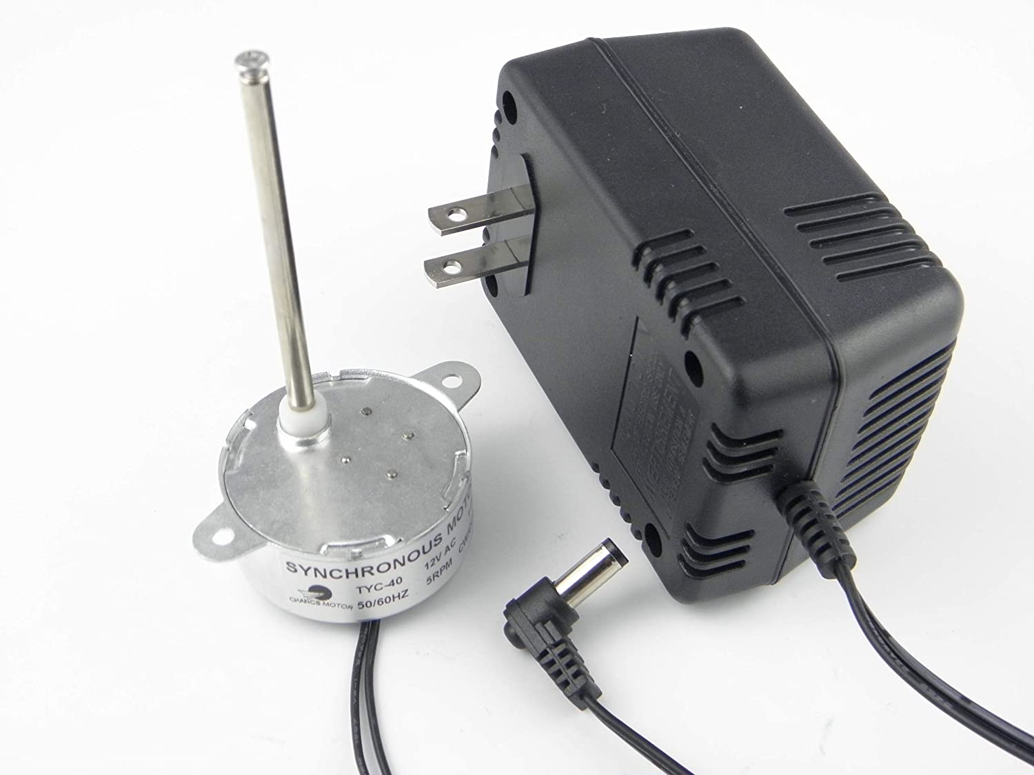 CHANCS TYC40 12V AC 5RPM Shaft 35mm Synchronous Motor with AC Wall Power Adapter Input 110V Output AC 12V for Christmas Decoration