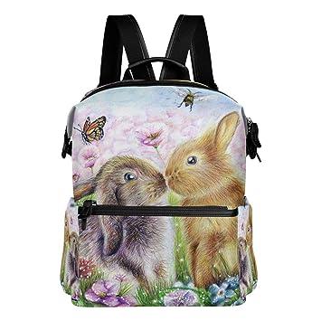Bolsas de Niños Mochila Pintura Ligera Conejo Kiss para Mochila Mariposa Mochila  Mochila Bunny Escolar Hombro ... 59ec2e8113f3d