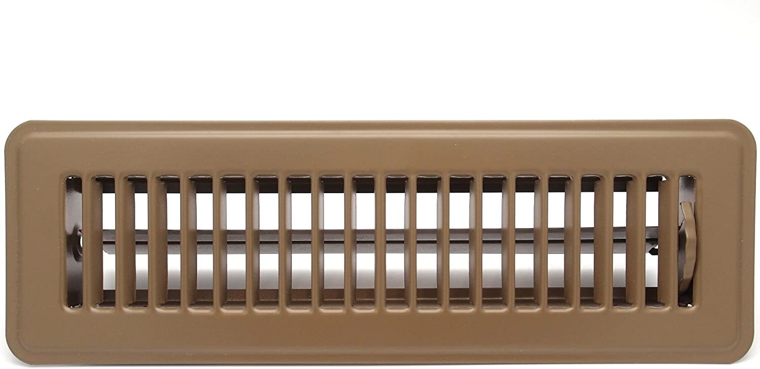 "6"" X 14"" Floor Register With Louvered Design - Fixed Blades Return Supply Air Grill - With Damper & Lever - Brown - - Amazon.com"