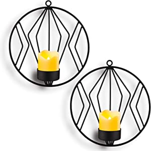 Kathy Wall Mounted Candle Holder,Set of 2 Tea Light Candle Sconces Metal Wall Decor for Home Living Room Wedding Events,Black