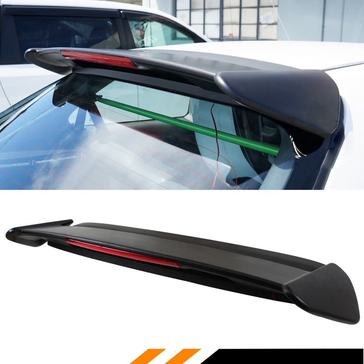 Cuztom Tuning Fits for 1996-2000 Civic EK EK9 3 Door Hatchback Type-R Style Roof Spoiler Wing W//LED Light