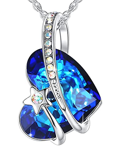 AneWish Jewellery Necklace for Women Pendant Necklace Blue Crystals Love Heart with Meteor es0uG2