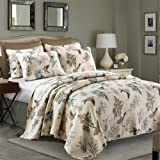 Newrara Birds Printing Comforter Sets, American Country Queen Quilt Set/ Bedspread 100% Cotton,Beige 3Pcs