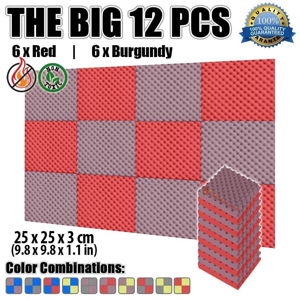 Super Dash 12Pack, 25x 25x 3cm Noppenschaum Egg Box Akustik Home Studio schaldicht Behandlung Zubehör Foam Wall Panel Fliesen sd1052, blau/schwarz, 25 X 25 X 3 cm Super Dash 12Pack