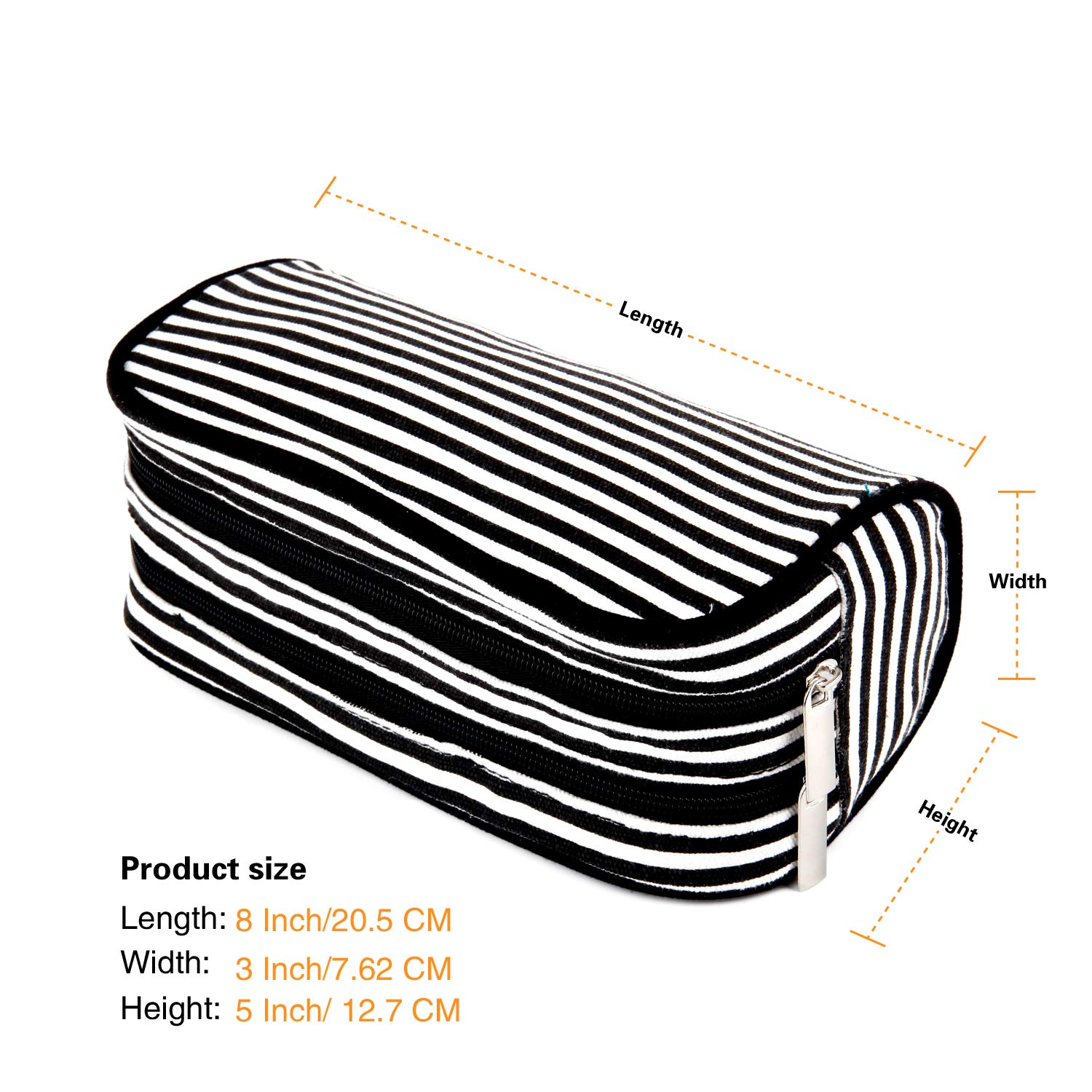 JEMIA - Black White Stripes Canvas Pencil Case with 2 Compartments Zipper Organizer Storage to Organize Office Stationary and Cosmetic Makeup Supply ...