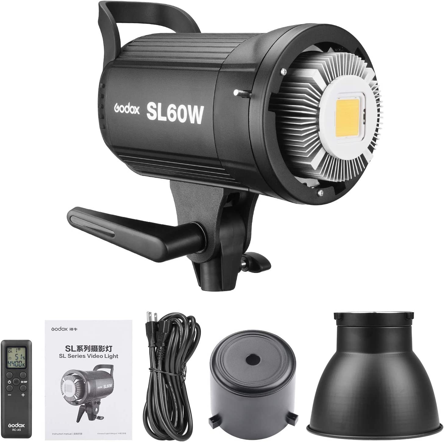 Amazon.com : Godox SL60W SL-60W Dimmable Continuous Output Lighting CRI95+  Qa>90 5600±300K Adjustable Daylight Studio LED Video Light Lamp  w/Controller + Bowens Mount for Video Recording Wedding Outdoor Shooting :  Camera &