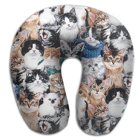 Gatos razas viaje almohada forma de U almohada de espuma con efecto memoria con funda lavable