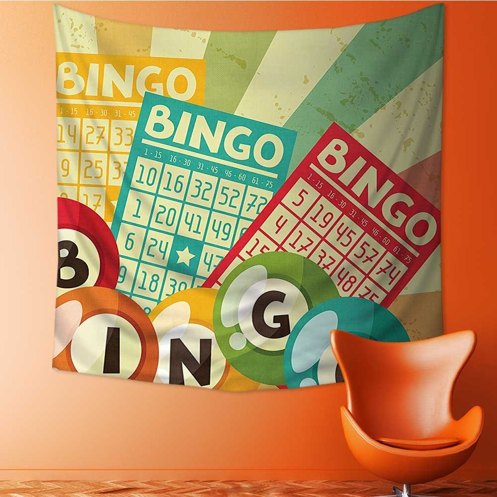 L-QN Wall Decor Tapestries Bingo Game with Ball and Cards Pop Art Stylized Lottery Hobby Celebration Theme Tapestry Coverlet Curtain32W x 32L Inch by L-QN