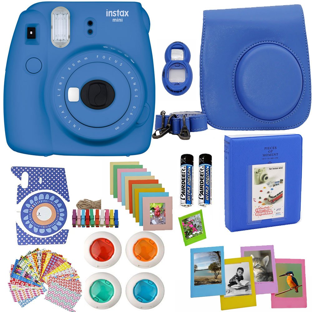 Fujifilm Instax Mini 9 Instant Camera Cobalt Blue + Blue Camera Case + Frames + Photo Album + 4 Color Filters and More Top Accessories Kit
