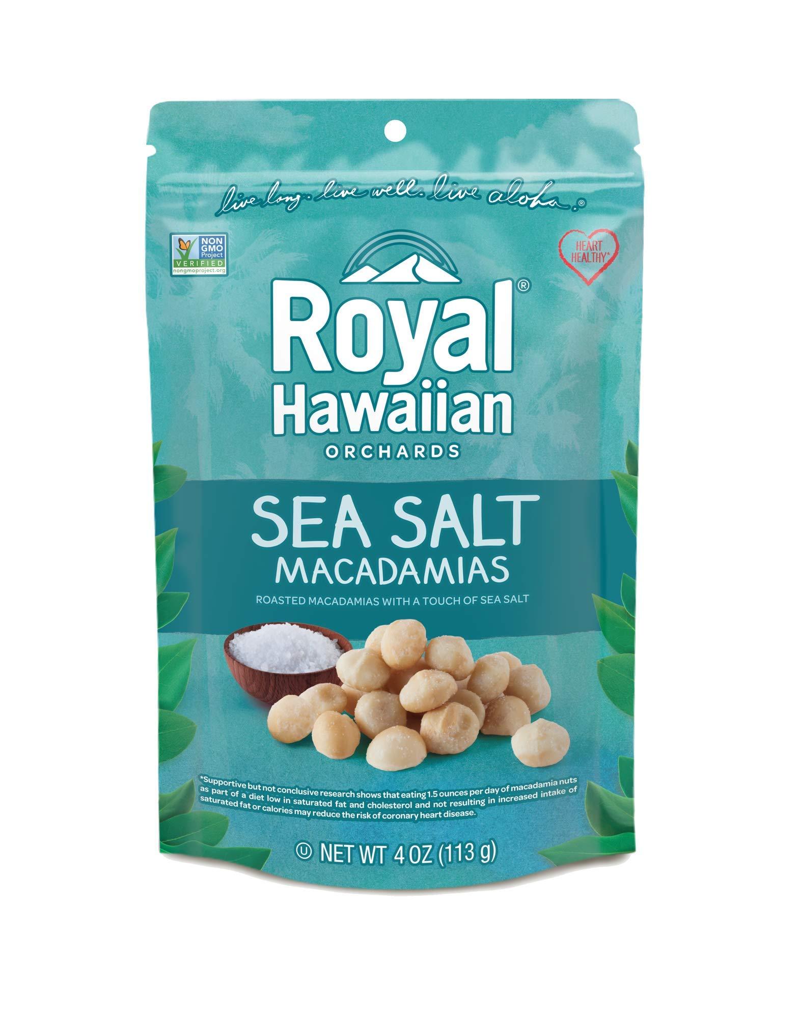 Royal Hawaiian Orchards Macadamias, Sea Salt, 4 Ounce (Pack of 6)