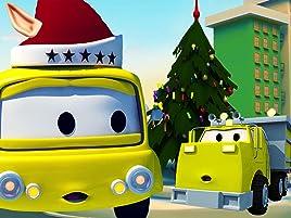 Equipo Constructor construye el árbol de Navidad y una máquina para envolver regalos . ¡Ethan el camión volquete, Edgar la excavadora y Charlie la grúa son ...