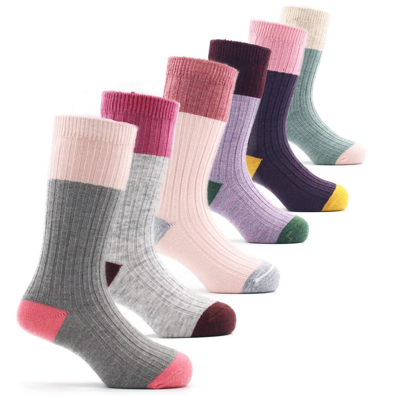 Little Girls Thick Wool Socks Kids Winter Warm Crew Seamless Socks 6 Pack 3-5 Years