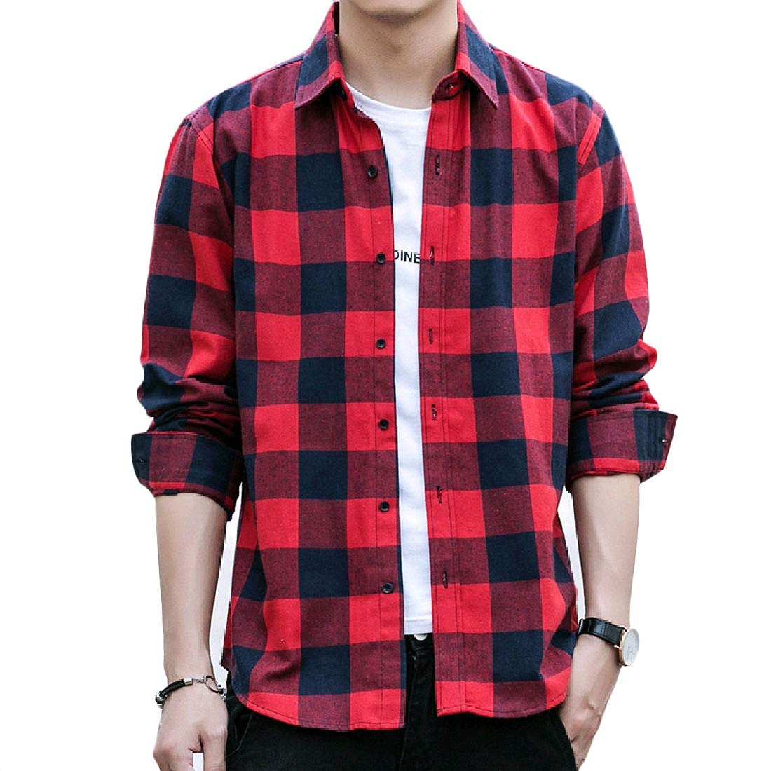 Nicelly Men Leisure Single-Breasted Turn Down Collar Tshirt Top Shirt