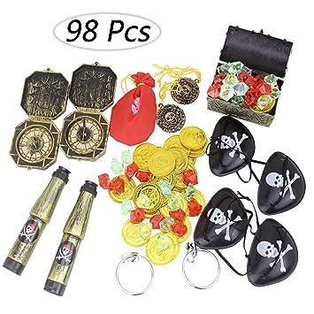 Amazon.com: Kit de suministros de fiesta pirata (98 unidades ...