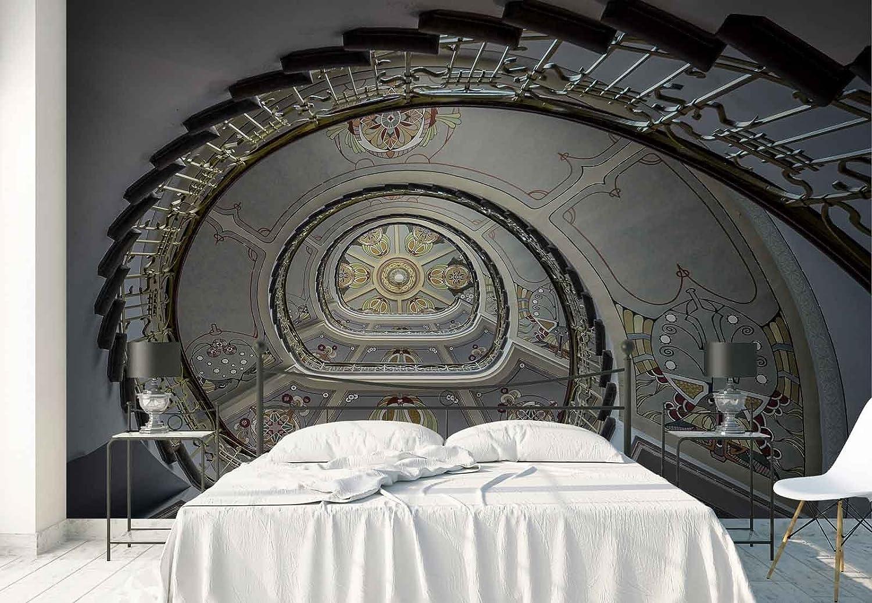 Papel Tapiz Fotomural - Art Nouveau Escalera De Caracol Museo - Tema Arquitectura - L - 254cm x 184cm (an. x alto) - 2 Tiras - impreso en papel 130g/m2 EasyInstall -