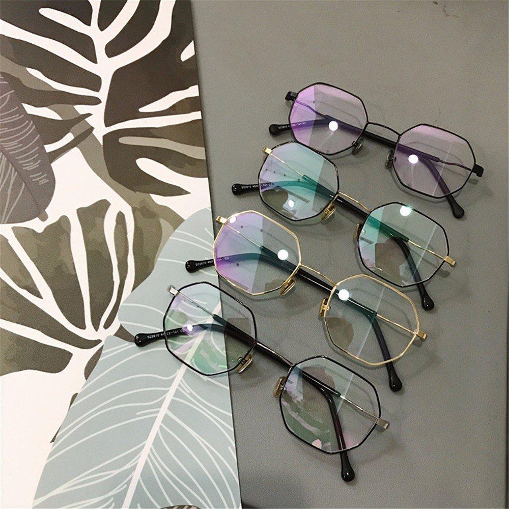 LXKMTYJ Strahlenschutz Gläser Unregelmäßige Metall Flache Linsen Männlich Weiblich Brille, Gold