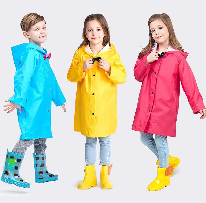Yiluweinir Kids Raincoat with Bows Girl Boy Waterproof Hood Rain Jacket Outdoor Age 2-10 with Bag