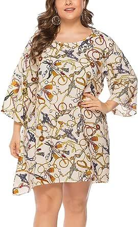 DianShaoA Mujer Vestido Cuello V Talla Grande Boho Impresión Playa Vestidos para Boda Noche Fiesta