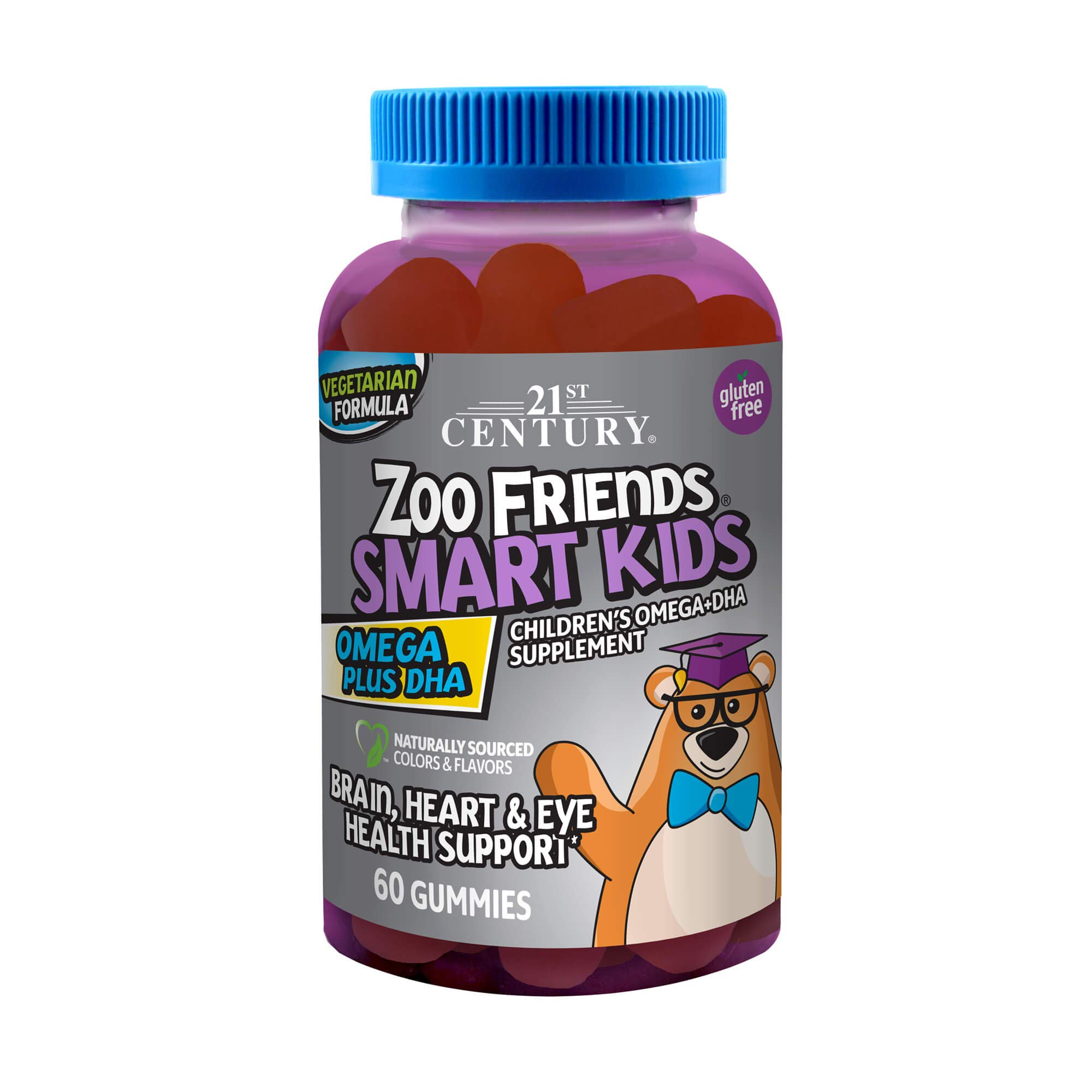 21st Century Zoo Friends Smart Kids Omega Plus DHA Gummies, Orange, Lemon and Cran