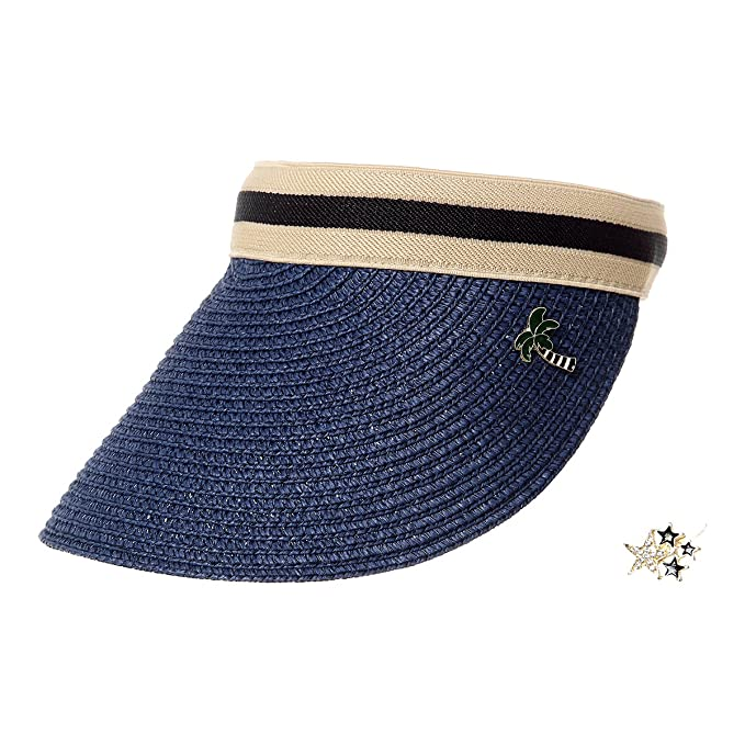 e42260e7eb242 Visor Straw Hat Straw Golf Hat for Women Summer Beach Sun Hat (Blue ...