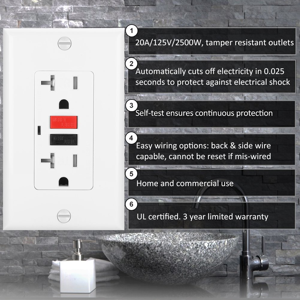 Bestten Self Test Tamper Resistant Gfci Receptacle Outlet With Led Groundfault Circuit Interrupter Protects From Electric Shock Indicator Ground Fault
