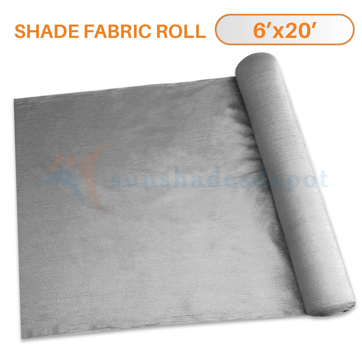 Sunshades Depot 6' x 20' Shade Cloth 180 GSM HDPE Light Grey Fabric Roll Up to 95% Blockage UV Resistant Mesh Net