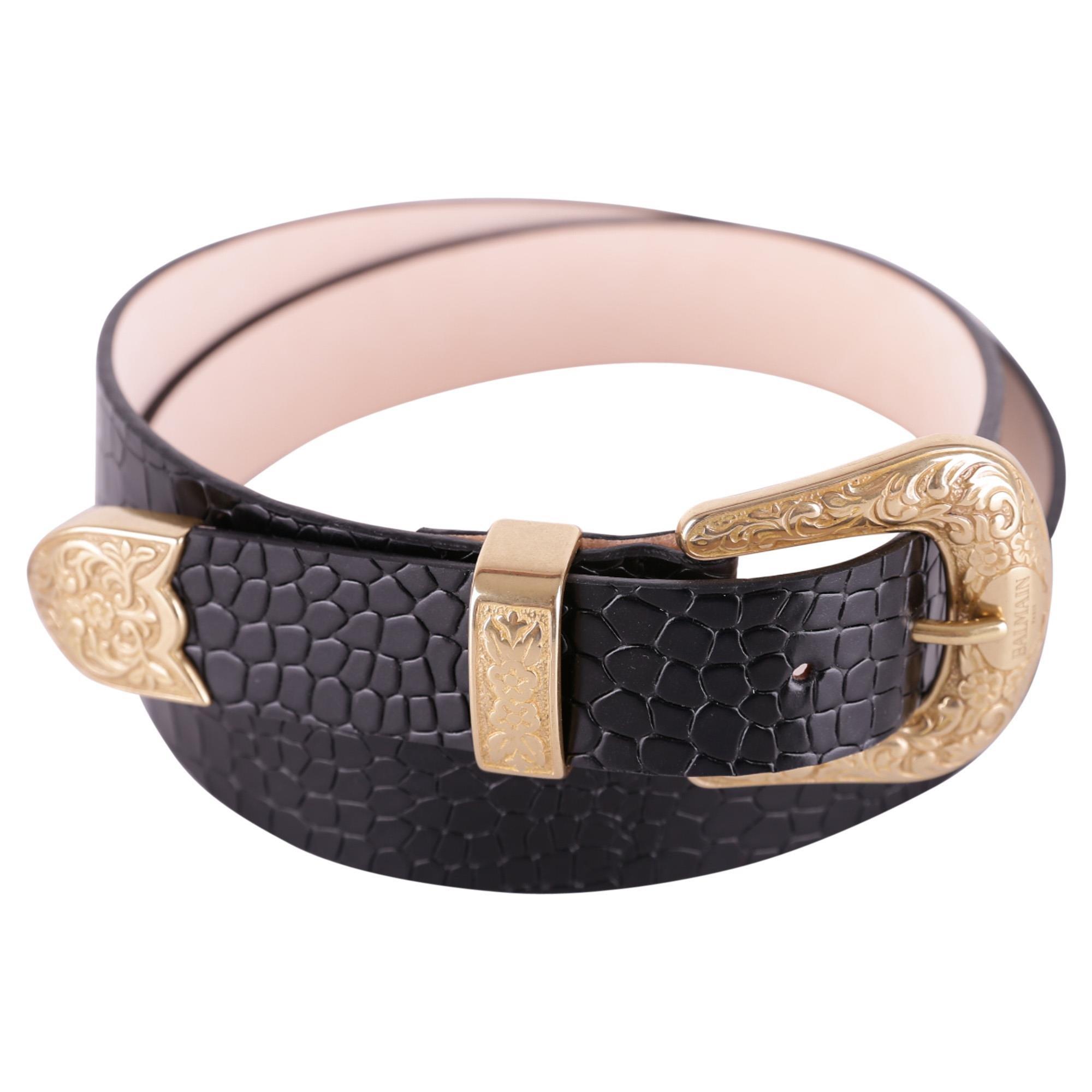 Balmain Women's 129786386Pc0100 Black Leather Belt