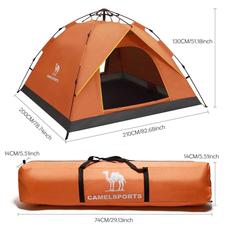 Camel Tienda de Campaña de Dome para 2-3 Hombres Automático con Material Resistente A Prueba de UV/Viento Fuerte Buena Ventilación para Playa, Aire Libre, ...