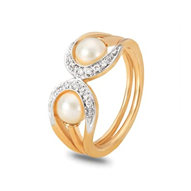 Buy Mia By Tanishq 14kt Yellow Gold Diamond And Pearl Ring For